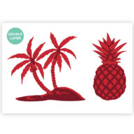 Tropical stencil met palmboom en ananas sjabloon