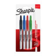 Sharpie marker stiften set. De punt van de Sharpie Retractable markers zijn makkelijk in en uit te klikken. 4 kleuren