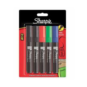 Sharpie stiften permanent marker set 5 kleuren zwart, rood, groen, blauw