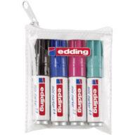 Edding stift 550 permanent marker zwart stiften voor op glas, metaal, hout, papier, etc set van 4 kleuren