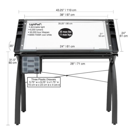 Futura Light Table Afmeting